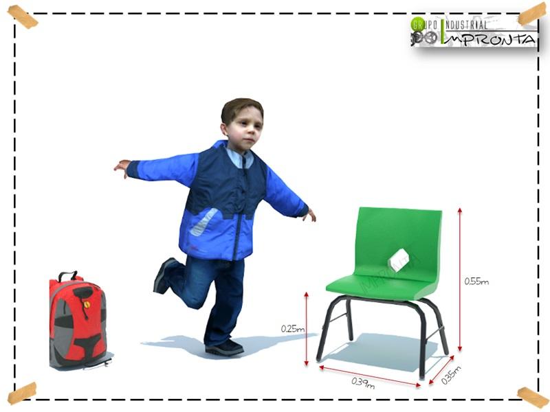 Silla escolar infantil kinder fabricante de mobiliario for Medidas sillas ninos